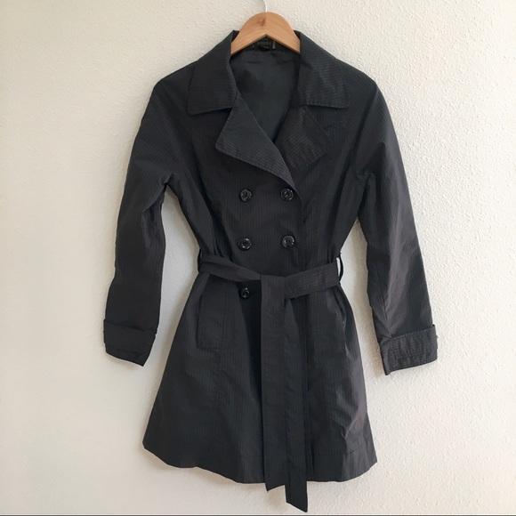 Jou Jou Jackets & Blazers - JouJou Black Pinstripe Trench Coat - Size Large